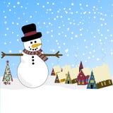 De Scène van de winter met Sneeuwman en Beiers Dorp Royalty-vrije Illustratie