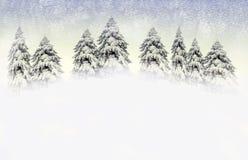 De scène van de winter met sneeuwpijnbomen Royalty-vrije Stock Afbeeldingen
