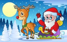 De scène van de winter met thema 1 van Kerstmis Royalty-vrije Stock Afbeelding