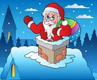 De scène van de winter met thema 4 van Kerstmis Stock Afbeeldingen