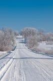 De scène van de winter op een landweg in landelijk Iowa royalty-vrije stock afbeelding