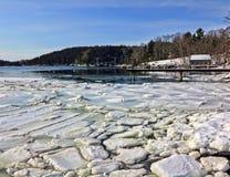 De scène van de winter van Brooksville, Maine Stock Afbeeldingen