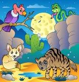 De scène van de woestijn met diverse dieren 2 vector illustratie