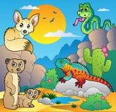 De scène van de woestijn met diverse dieren 4 Stock Afbeeldingen