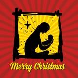 De scène van de geboorte van Christus Kerstman Klaus, hemel, vorst, zak royalty-vrije illustratie