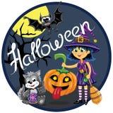 De scène van Halloween Heks met pompoen, kat en knuppel Royalty-vrije Stock Afbeeldingen