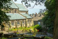 De scène van de Haworthstraat, West-Yorkshire, Engeland royalty-vrije stock afbeelding