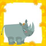 De scène van het beeldverhaalkader - rinoceros Stock Afbeeldingen