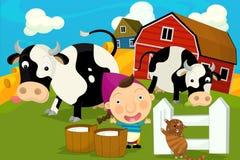 De scène van het beeldverhaallandbouwbedrijf - hostes en de koeien Royalty-vrije Stock Afbeeldingen