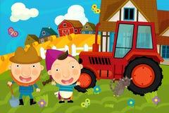 De scène van het beeldverhaallandbouwbedrijf - hostes en de koeien Stock Foto