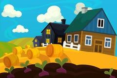 De scène van het beeldverhaallandbouwbedrijf - traditioneel dorp - voor verschillend gebruik royalty-vrije illustratie