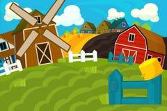 De scène van het beeldverhaallandbouwbedrijf - traditioneel dorp - voor verschillend gebruik stock illustratie