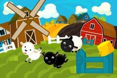 De scène van het beeldverhaallandbouwbedrijf - traditioneel dorp - voor verschillend gebruik vector illustratie
