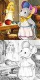 De scène van het beeldverhaalsprookje - kleurende illustratie Stock Foto's