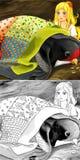 De scène van het beeldverhaalsprookje - kleurende illustratie Stock Afbeeldingen