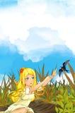 De scène van het beeldverhaalsprookje met een jong meisje dichtbij weide en koekoeks het vliegen royalty-vrije illustratie