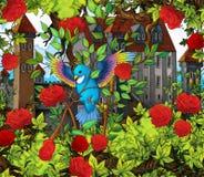 De scène van het beeldverhaalsprookje - vogel in rozen Stock Afbeeldingen
