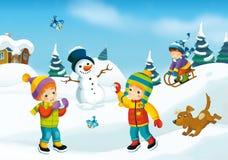 De scène van het de winterbeeldverhaal Stock Afbeeldingen