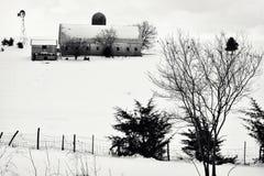 De Scène van het de winterlandbouwbedrijf Stock Afbeeldingen