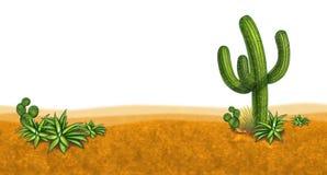 De scène van het dessert met cactus Stock Afbeeldingen