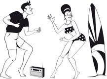 de scène van het jaren '60strand vector illustratie