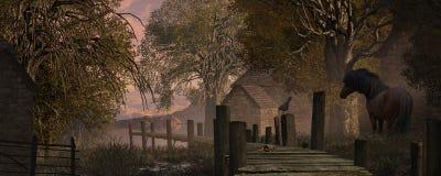 De Scène van het landbouwbedrijf en Oude Pijler Stock Afbeeldingen