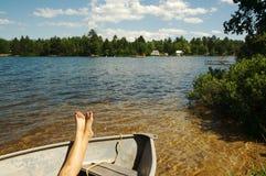 De Scène van het meer op de Dag van de Zomer stock afbeelding