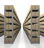 De scène van het pakhuis met propere dozen Stock Fotografie