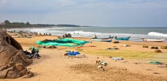 De Scène van het Strand van Mahabalipuram Royalty-vrije Stock Fotografie