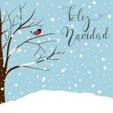 De scène van het de winterlandschap De nieuwe kaart van de jaargroet Forest Falling Snow Red Capped Robin Bird Sitting op Boom Bl Stock Fotografie