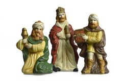 De scène van de Kerstmisgeboorte van christus met drie die koningen op wit worden geïsoleerd Stock Afbeelding