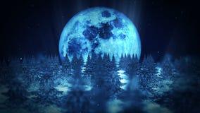 De scène van de maannacht, de Winter Bosillustratie, Abstracte aardachtergrond, de animatie van het Lijnlandschap, royalty-vrije illustratie