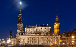 De scène van Nigt met kasteel in Dresden Stock Foto's