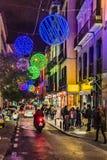 De Scène van Nigth van de Kerstmisdecoratie, Madrid, Spanje stock afbeeldingen