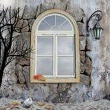 De scène van november met venster Royalty-vrije Stock Fotografie