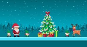 De scène van de pixelkunst met de Kerstman en gnomen Royalty-vrije Stock Foto's