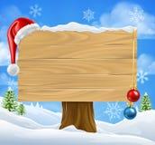 De Scène van Santa Hat Baubles Winter Snow van het Kerstmisteken stock illustratie