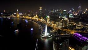 De Scène van de de Stadsnacht van Shanghai Lujiazui stock video