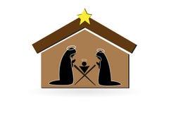 De scène vectorsymbool van de Kerstmisgeboorte van christus royalty-vrije illustratie
