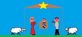 De scènes van de Kerstmisgeboorte van christus Royalty-vrije Stock Afbeelding