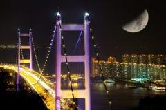 De scènes van de nacht van de Brug van Tsing Ma Stock Afbeelding