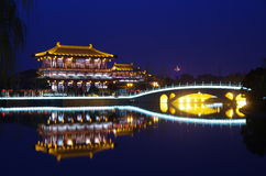 De architectuurnacht van China royalty-vrije stock fotografie