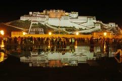 De scènes van de nacht van paleis Potala Stock Foto's