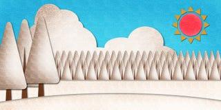 De scènewaterverf van de winter op papier Stock Foto