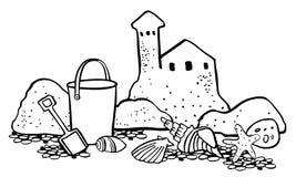 De sc?ne van het strand Zandkasteel met emmer en zeeschelpen De vector getrokken illustratie van het overzichtsbeeldverhaal hand royalty-vrije illustratie