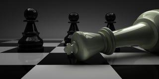 De schaakkoning viel voor panden royalty-vrije illustratie