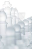 De schaakstukken van het glas Stock Foto