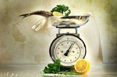 De schaal van het gewicht met vissen en citroenen Stock Afbeelding