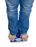 De schaal van voeten en van het gewicht Stock Afbeeldingen