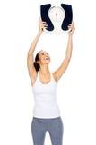 De schaalvrouw van Weightloss Royalty-vrije Stock Afbeelding